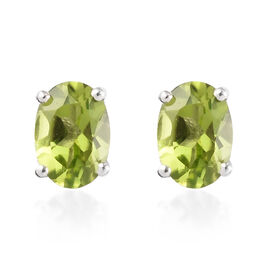 AA Hebei Peridot Stud Earrings (with Push Back) in Platinum Overlay Sterling Silver 1.75 Ct.