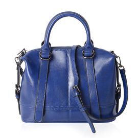 Summer Collection 100% Genuine Leather Royal Blue Tote Bag with External Zipper Pocket and Removable