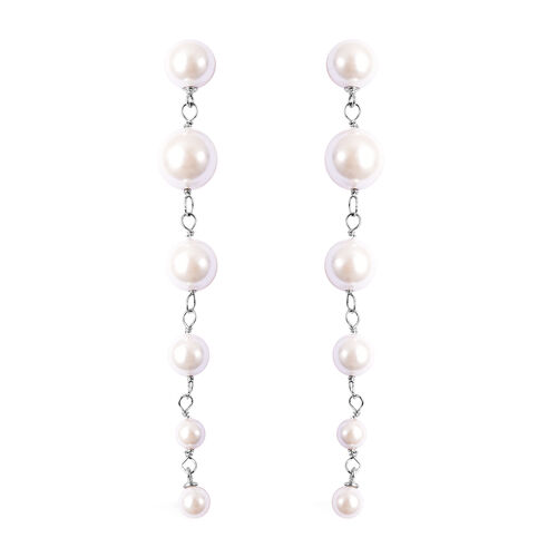 Monster Deal - White Shell Pearl Dangle Earrings in Sterling Silver