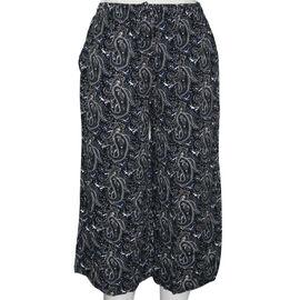 SUGARCRISP Paisley Printed Cropped Capri Trousers in Black