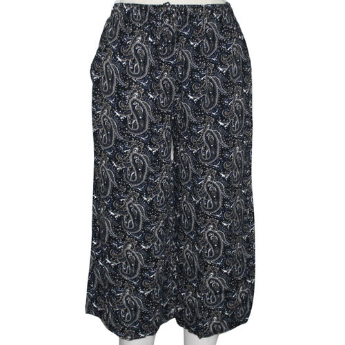 SUGARCRISP Paisley Printed Cropped Capri Trousers in Black (Size L)