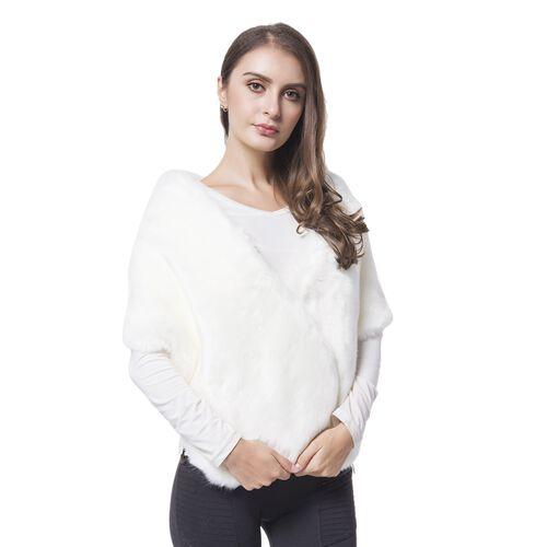 Designer Inspired - White Faux Fur Wrap (Size 135X30 Cm)
