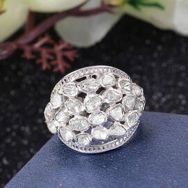 GP Polki Diamond and Kanchanaburi Blue Sapphire Ring in Platinum Overlay Sterling Silver 1.02 Ct, Silver wt. 9.60 Gms