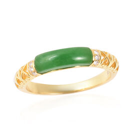 AAA Green Jade and Natural Cambodian Zircon Ring in Yellow Gold Plated Sterling Silver 2.10 Ct.