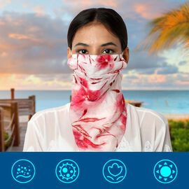 New Arrival- 2 in 1 Flower Pattern 100% Mulberry Silk Scarf and Protective Face Covering in Pink (Si