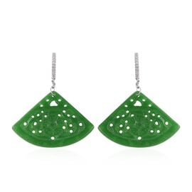 32 Ct Green Jade and Simulated Diamond Drop Earrings in Sterling Silver 4 Grams With Clasp Lock