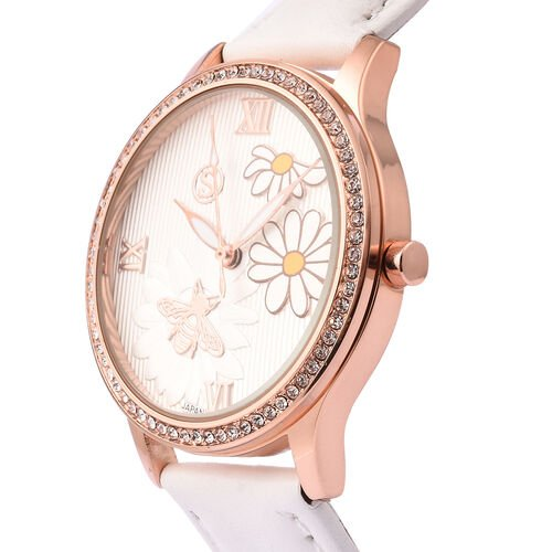 STRADA Japanese Movement White Austrian Crystal Studded Flower Bee Dial Water Resistant Watch with White Colour Strap