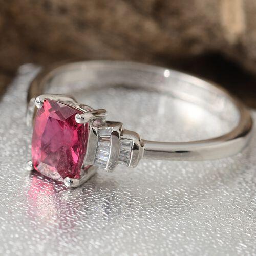 RHAPSODY 950 Platinum Ouro Fino Rubelite (Cush 1.15 Ct), Diamond Ring 1.250 Ct.
