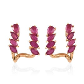 3.94 Ct AA African Ruby Stud Earrings in Gold Plated Sterling Silver