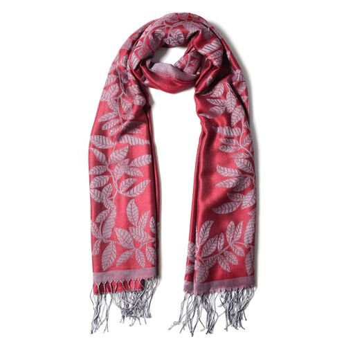 Red and Grey Colour Scarf with Leaf Pattern (Size 180X68 Cm)