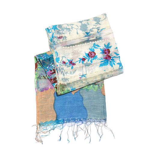 65% Silk White, Blue and Multi Colour Artistic Floral Pattern Scarf with Fringes (Size 180x50 Cm)