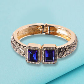 One Time Deal - Simulated Sapphire and Austrian White Crystal Enamelled Art deco Bangle (Size 7) in