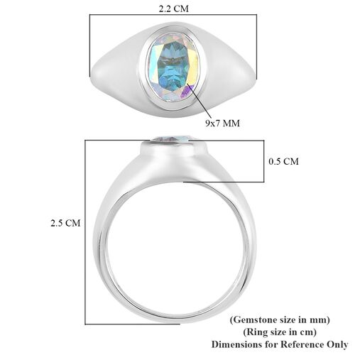 Mercury Mystic Topaz Solitaire Ring in Platinum Overlay Sterling Silver 2.00 Ct.