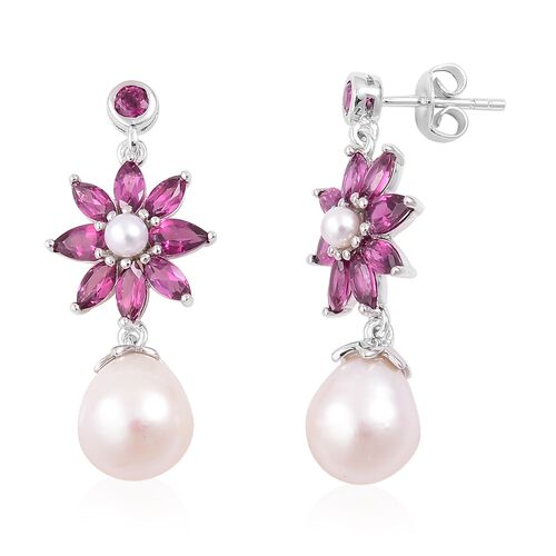 Rhodolite Garnet (Mrq), Fresh Water Pearl Earrings (with Push Back) in Rhodium Plated Sterling Silver. Total Gem Wt 3.50 Gms