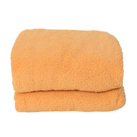 Supersoft Sherpa Blanket, Double/King (Size 200x230 Cm) - Warm Yellow Colour