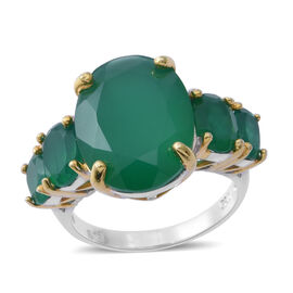 Verde Onyx (Ovl 8.00 Ct) Ring in Rhodium and Gold Overlay Sterling Silver 10.750 Ct.