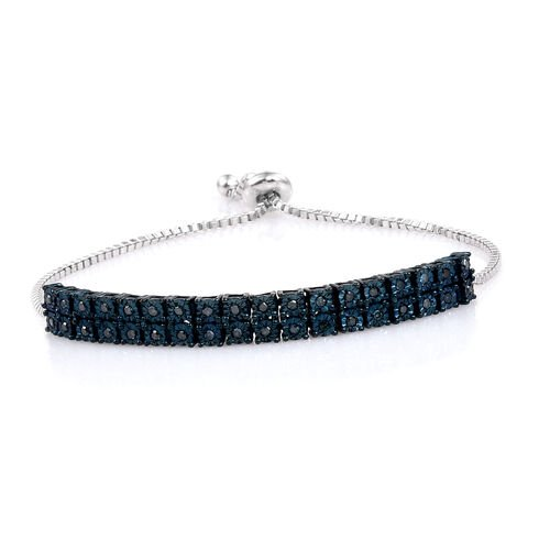 One Time Only Deal - Blue Diamond (Clarity I1) Adjustable Bracelet (Size 6 to 8.5) in Rhodium Overlay Sterling Silver 0.360 Ct. Silver wt 9.90 Gms.
