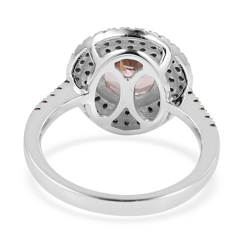 9K White Gold AAA Marropino Morganite (Rnd 2.00 Ct), Natural Champagne Diamond Ring 2.360 Ct.