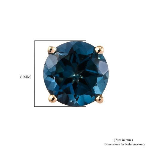 9K Yellow Gold London Blue Topaz (Rnd) Stud Earrings (with Push Back) 2.00 Ct.