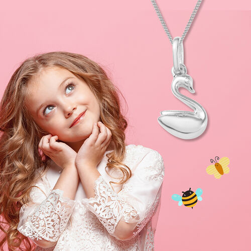 Swan Pendant for Child in Platinum and Gold Plated Silver
