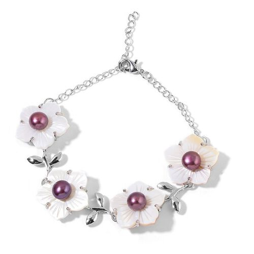 Fresh Water Purple Pearl and White Shell Floral Bracelet (Size 6.5 with 2 inch Extender) and Hook Earrings in Silver Tone with Stainless Steel
