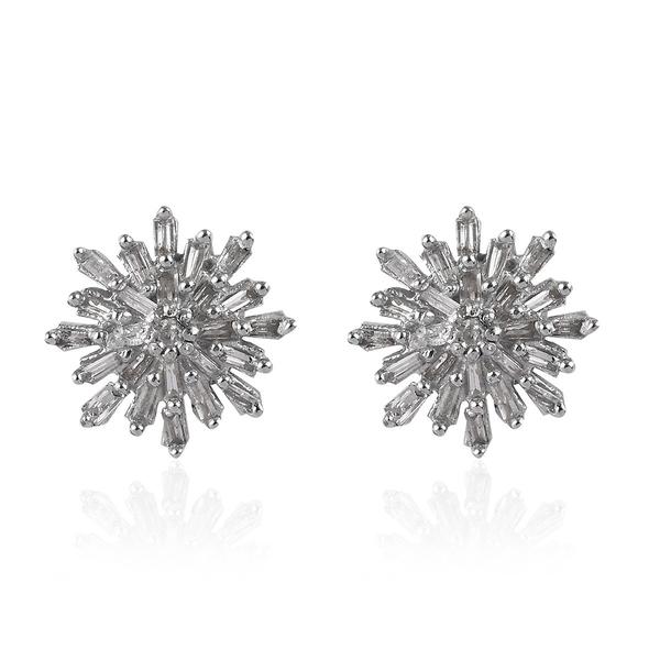 0.33 Ct Diamond Snowflake Stud Earrings in Platinum Plated Silver
