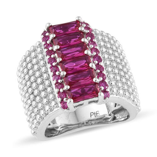One Time Deal - Designer Inspired Lab Grown Ruby (Round & Taper Baguette) Ring in Silver Plated