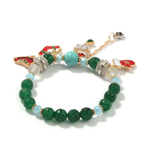 Set of 2 - Blue Howlite, Green Quatzite and Multi Simulated Gemstone Enamelled Charm Stretchable Bracelet (Size 6.5) in Yellow Gold Tone