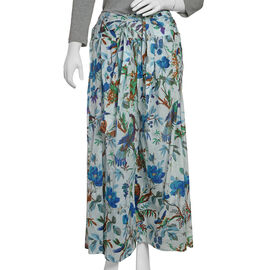 100% Cotton Blue, Green and Multi Colour Flower, Leaves and Birds Pattern Palazzo Trouser (Size 95x4
