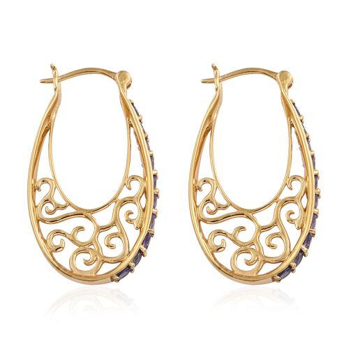 Tanzanite (Rnd) Hoop Earrings (with Clasp Lock) in 14K Gold Overlay Sterling Silver 2.500 Ct.