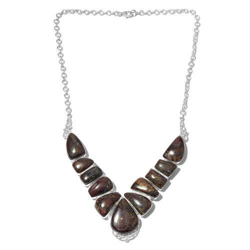 One Off A Kind- Australian Boulder Opal Rock Necklace (Size 18) in Sterling Silver 151.000 Ct. Silve