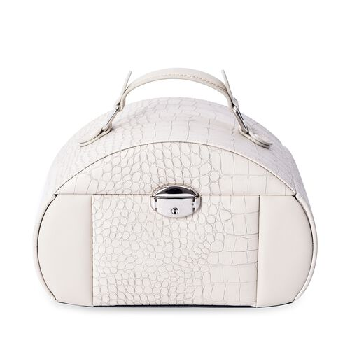 Croc Embossed 3-Layer Travel Jewellery Box with Inside Mirror, Two Pulled-out Drawers and Side Doors (Size 23.8x16.5x14.5 Cm) - Sand Colour