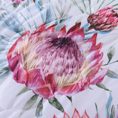 4 Piece Set - Serenity Night Off-White and Multi Colour Floral Print Comforter (220x225cm), Fitted Sheet (140x190+30cm) and Pillow Covers (2 Pcs - 50x70+5cm) - DOUBLE