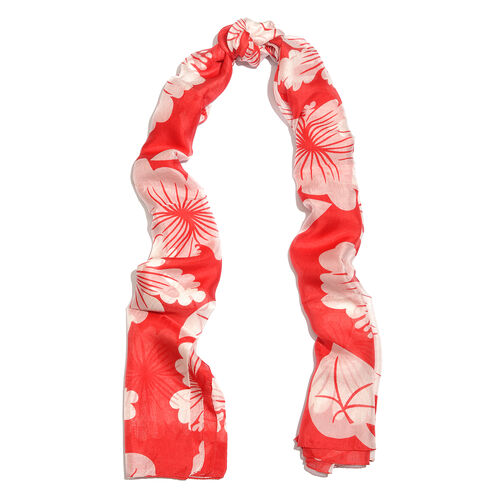 100% Mulberry Silk Red and White Colour Flower Printed Scarf (180x100 Cm)