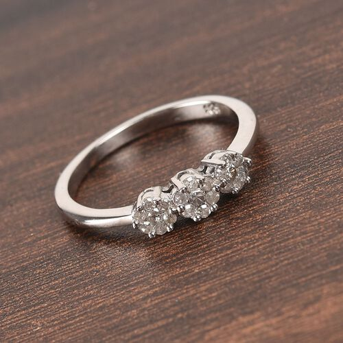Natural Diamond Floral Ring in Platinum Overlay Sterling Silver 0.20 Ct.