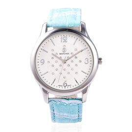 STRADA Japanese Movement Austrian White Crystal (Rnd) Water Resistant Watch in Silver Tone - Light B