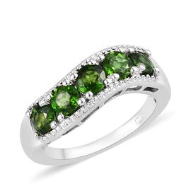 Russian Diopside (Rnd) 5 Stone Ring in Platinum Overlay Sterling Silver 1.250 Ct.