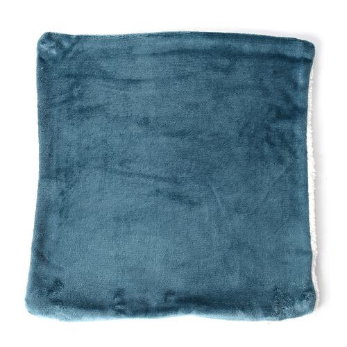 Set of 4 -  Turquoise Colour Supersoft Reversible Flannel Sherpa Cushion Covers (45x45 cm)