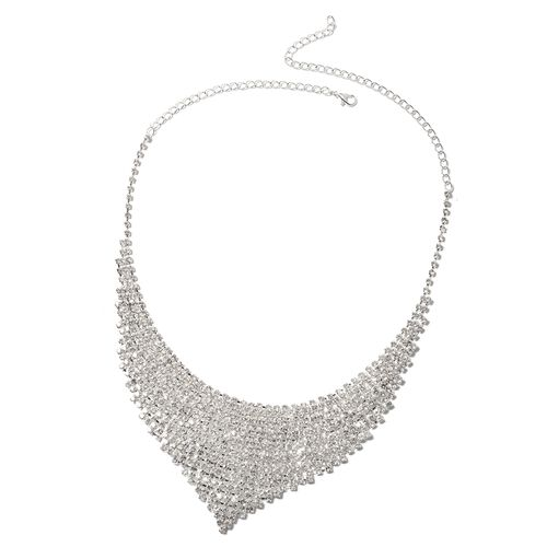 3 Piece Set - White Austrian Crystal (Rnd) Waterfall Necklace (Size 16 with 7 inch Extender), Tiara and Earrings (with Push Back)