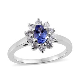 1 Carat Tanzanite and Cambodian Zircon Halo Ring in Platinum Plated Sterling Silver