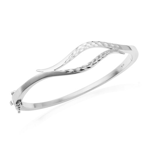 LucyQ Flame Collection - Rhodium Overlay Sterling Silver Bangle (Size 7.5), Silver wt 24.29 Gms