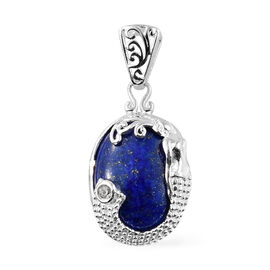 Lapis Lazuli (Ovl 16x12 mm), Natural Cambodian Zircon Pendant in Sterling Silver 10.000 Ct.