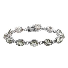 20 Ct Prasiolite Tennis Style Bracelet in Platinum Plated Silver 16 Grams 8 Inch