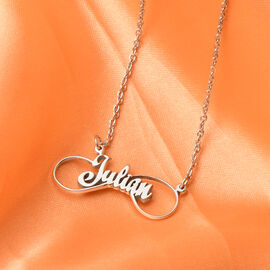 Personalised Name Necklace Infinity in Silver, Font - Christmas Script