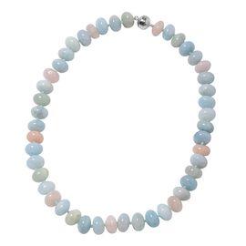 Rare Size 3A Espirito Santo Aquamarine and Marropino Morganite Beaded Necklace in Sterling Silver