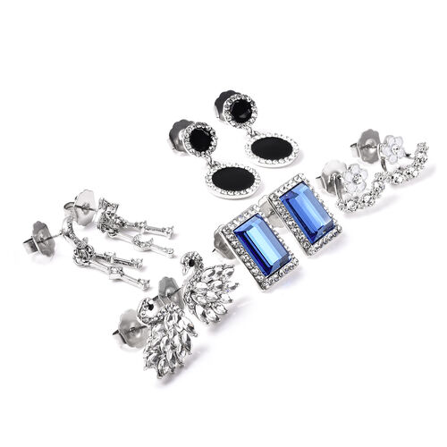 Set of 5 -  White and Black Austrian Crystal, Simulated Diamond, Simulated Blue Topaz Enamelled Earrings (with Push Back and Detachable)