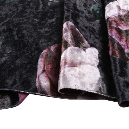 Sateen Lined Crushed Velvet Runner with Peony Print and Tassels (Size 40x160 cm)