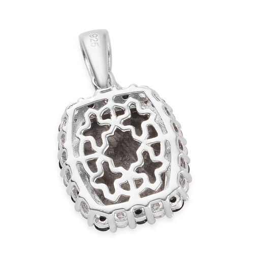Meteorite, Boi Ploi Black Spinel and Natural Cambodian Zircon Pendant in Platinum Overlay Sterling Silver 10.07 Ct.