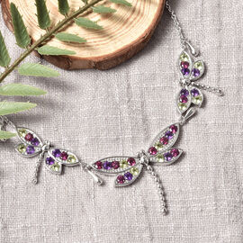 LucyQ Dragonfly Collection- Natural Hebei Peridot, Rhodolite Garnet and Amethyst Necklace (Size:16 with 4 inch Extender) in Rhodium Overlay Sterling Silver 4.52 Ct, Silver wt. 16.14 Gms