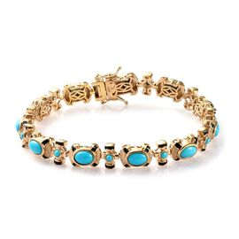 8.70 Ct Arizona Sleeping Beauty Turquoise Enamelled Station Bracelet in Gold Plated Silver 8 Inch